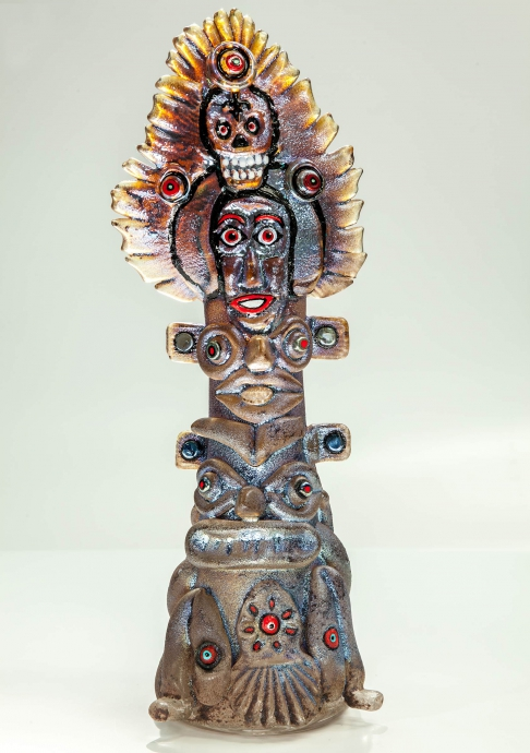 Flaming Glass Totem Pole